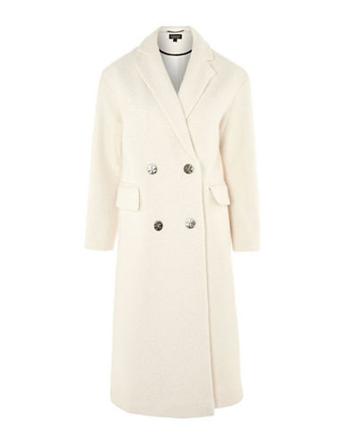 Topshop Premium Oversized Coat-CREAM-UK 12/US 8