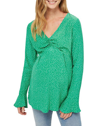 Topshop MATERNITY Printed Ruched Blouse-GREEN-UK 12/US 8