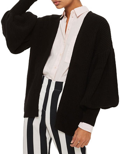 Topshop Blouson-Sleeve Cardigan-BLACK-Small