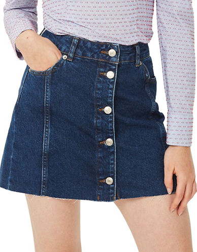 Topshop MOTO Button Through Denim Mini Skirt-MID DENIM-UK 8/US 4