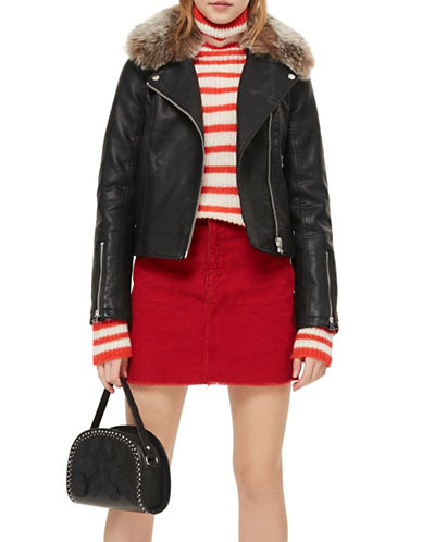 Topshop PETITE Rayne Biker Jacket-BLACK-UK 4/US 0