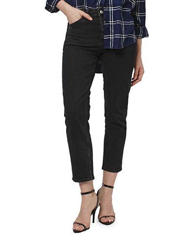 Topshop MOTO Straight-Leg Jeans 30-Inch Leg-BLACK-25X30