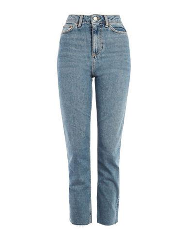 Topshop MOTO Straight-Leg Raw Hem Jeans 30-Inch Leg-BLUE GREEN-32X30