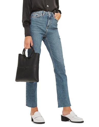 Topshop MOTO Straight-Leg Raw Hem Jeans 32-Inch Leg-BLUE GREEN-25X32