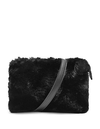 Topshop Rupert Faux Fur Crossbody Bag-BLACK-One Size