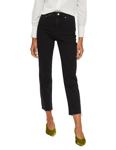 Topshop MOTO Washed Raw Hem Jeans 30-Inch Leg-WASHED BLACK-32X30