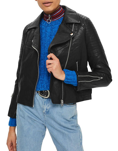 Topshop Faux Leather Biker Jacket-BLACK-UK 4/US 0