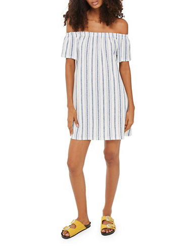 Topshop PETITE Stripe Bardot Dress-BLUE-UK 8/US 4