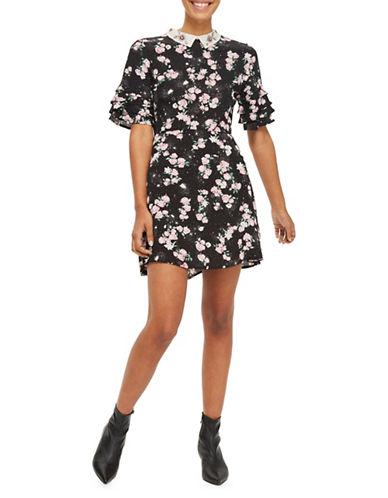 Topshop Embellished Collar Tea Dress-BLACK-UK 14/US 10