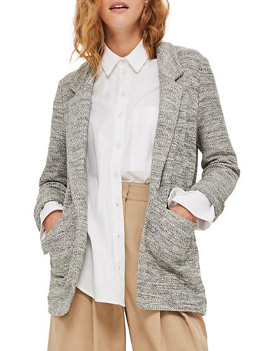 Topshop Knit Jersey Blazer-GREY-UK 8/US 4