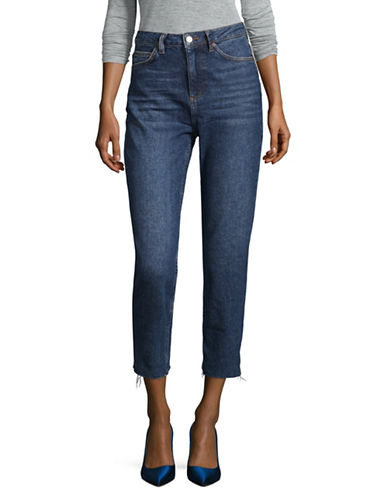 Topshop Raw-Hem Crop Jeans-MID DENIM-24X30