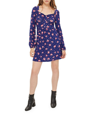 Topshop Floral-Printed Mini Dress-BLUE-UK 14/US 10