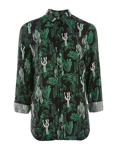 Topshop Cactus Print Casual Shirt-BLACK-UK 8/US 4