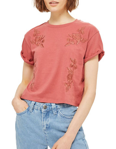 Topshop Embroidered Tee-DUSTY PINK-UK 8/US 4