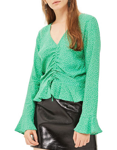 Topshop TALL Ruched Top-GREEN-UK 12/US 8
