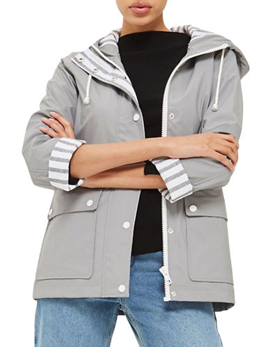 Topshop PETITE Hooded Rain Mac-GREY-UK 4/US 0