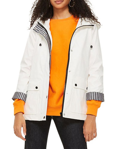Topshop PETITE Hooded Rain Mac-WHITE-UK 6/US 2