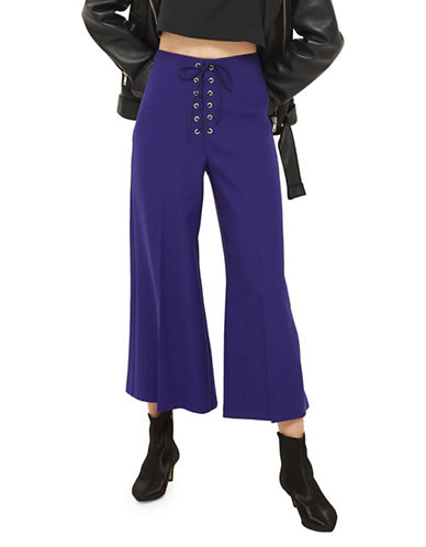 Topshop Crop Wide Leg Trousers-INDIGO-UK 6/US 2
