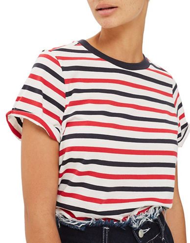 Topshop Stripe Roll Back T-Shirt-RED-UK 14/US 10