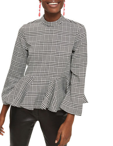 Topshop Peplum Hem Checked Blouse-GREY-UK 8/US 4