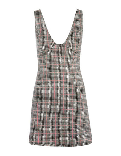 Topshop Check A-Line Pinafore Dress-MULTI-UK 12/US 8