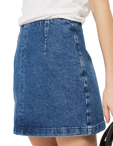 Topshop MOTO Denim A-Line Skirt-MID DENIM-UK 6/US 2