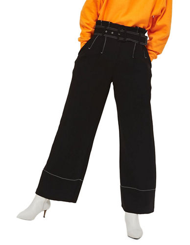 Topshop Stitch Buckle Trousers-BLACK-UK 14/US 10
