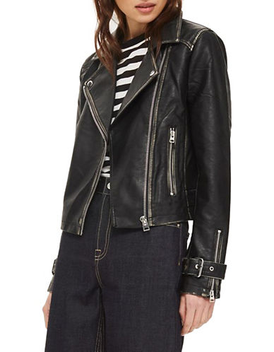Topshop Washed Biker Jacket-BLACK-UK 14/US 10
