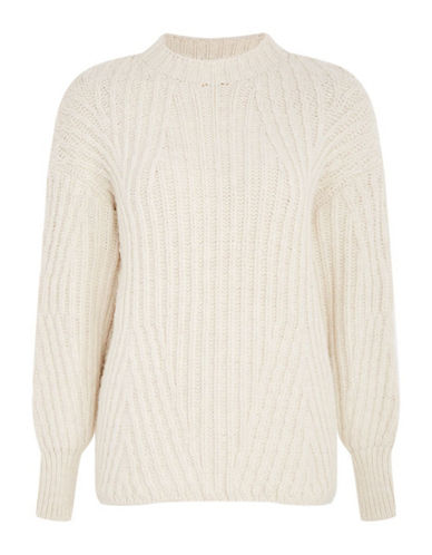 Topshop Deflected Ribbed Sweater-IVORY-UK 6/US 2