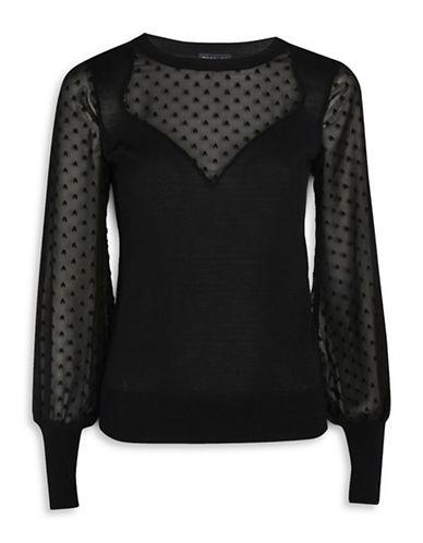 Topshop Sweetheart Chiffon Hybrid Sweater-BLACK-UK 6/US 2