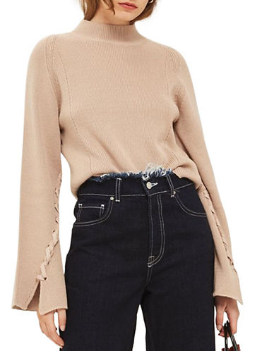 Topshop Lattice Detail Wide Sleeve Top-MINK-UK 10/US 6