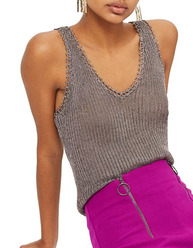 Topshop Metallized Yarn Ribbed Tank Top-GUNMETAL-UK 6/US 2