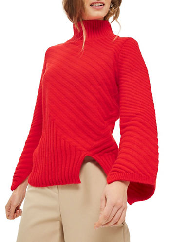 Topshop Ribbed Asymmetric Sweater-RED-UK 10/US 6