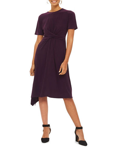 Topshop Tie Belt Midi Dress-PURPLE-UK 8/US 4