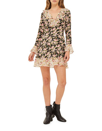 Topshop True Romance Tea Dress-BLACK-UK 6/US 2