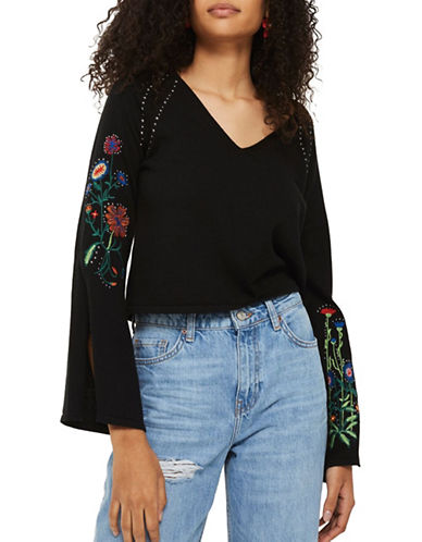 Topshop Stud and Embroidered Detailed Sweater-BLACK-UK 10/US 6