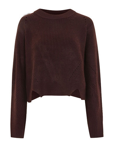 Topshop Zip-Back Ribbed Sweater-PURPLE-UK 8/US 4