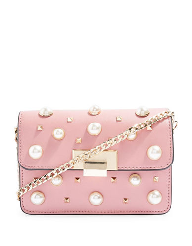 Topshop Faux-Pearl Studded Crossbody Bag-PINK-One Size