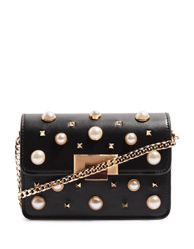 Topshop Faux-Pearl Studded Crossbody Bag-BLACK-One Size
