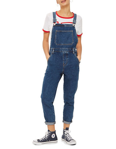Topshop MOTO Slim-Leg Overalls-DENIM-UK 10/US 6