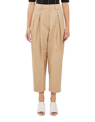 Topshop Pleated Trousers-CAMEL-UK 14/US 10