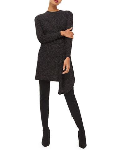 Topshop Asymmetrical Glitter Shift Dress-BLACK-UK 6/US 2