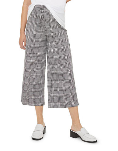 Topshop MATERNITY Checked Wide Leg Trousers-MONOCHROME-UK 12/US 8