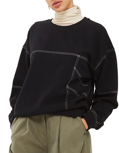 Topshop Stitch Detail Sweatshirt-BLACK-UK 14/US 10