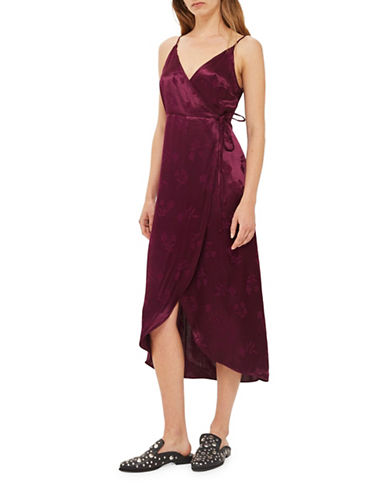 Topshop Jacquard Plunge Wrap Dress-BURGUNDY-UK 6/US 2