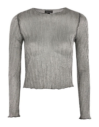 Topshop Chainmail Top-SILVER-UK 6/US 2