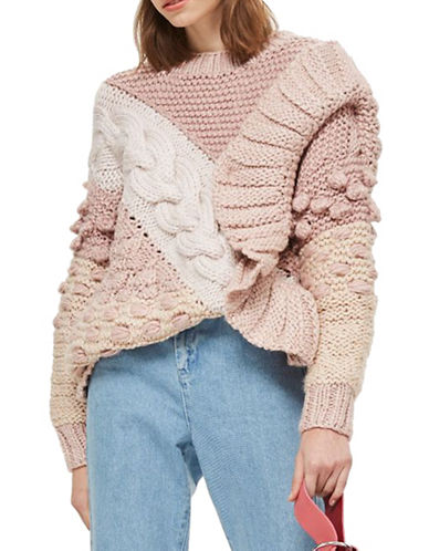 Topshop Wool-Blend Handknit Sweater-LIGHT PINK-Large