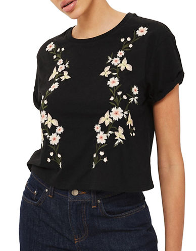 Topshop Embroidered Tee-BLACK-UK 8/US 4