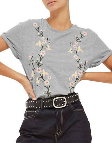 Topshop Floral Embroidery T-Shirt-GREY-UK 14/US 10