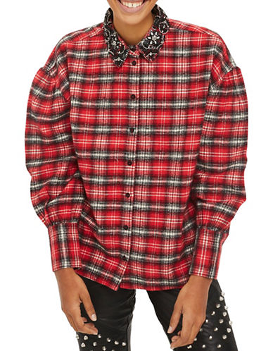 Topshop Embellished Collar Check Shirt-RED-UK 6/US 2